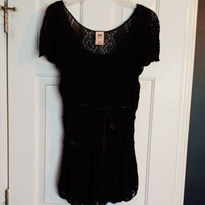 Cute crocheted top with ribbon tie in front